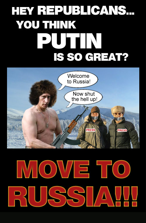 Vladimir Putin welcomes Republicans to Russia and initiates them to Putin style freedom of speech and press.