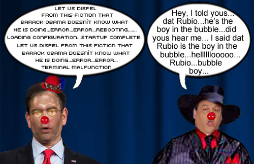 Marco Rubio, a.k.a. Marcobot 2016 has a terminal malfunction while Jersey boss, Chris Christie, reminds everybody that Rubio is the boy in the bubble.