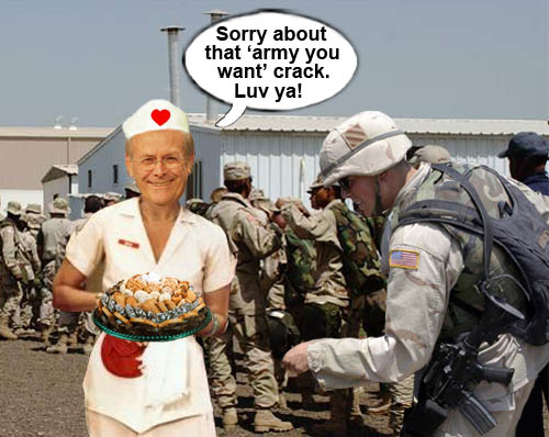 Secretary of Defense Donald Rumsfeld shows how much of a 'compassionate conservative' he is by showing some TLC for the troops.