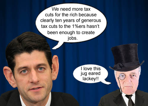 America's corporate, elite, plutocrats approve the selection of jug eared, ultra conservative, Paul Ryan, as Spiff Romney's Vice Presidential GOP running mate.