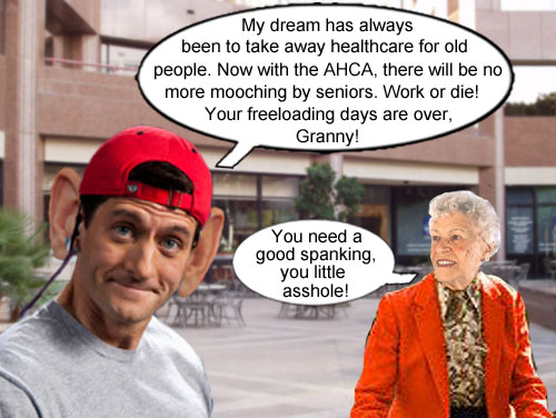 A feisty senior citizen offers to give Speaker of the House Paul Ryan a proper reward for the Republican's new healthcare plan, which could take away health insurance for 24 million Americans.