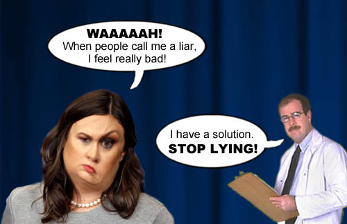 Trump administration Press Secretary and pathological prevaricator, Sarah Huckabee Sanders whines about being called a liar, to which a friendly doctor advises her to stop lying.