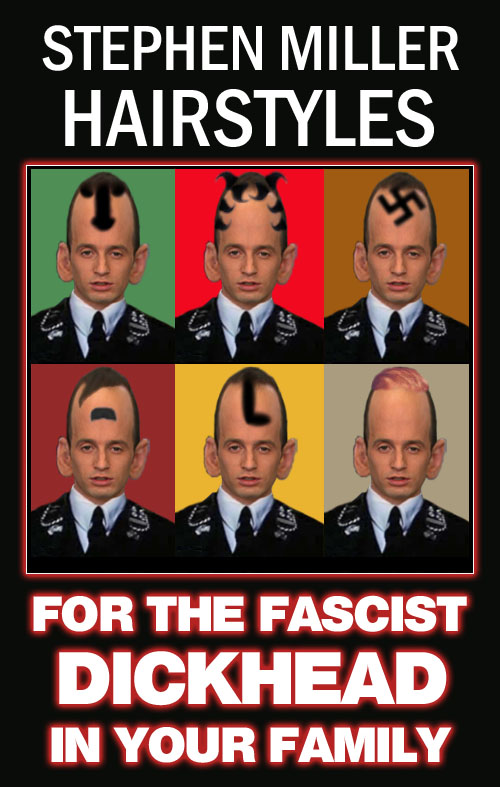 Stephen Miller, 'senior' advisor to American CEO/Dictator Donald Trump and alt-right wunderkind, has come out with fashionable hairstyles for the fascist dickhead in your family.