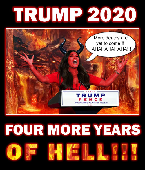 At this year's RNC, Donald Trump Jr.'s girlfriend and hell spawned demoness Kimberly Guilfoyle, declares more deaths are yet to come if Donald Trump is re-elected for four more years.