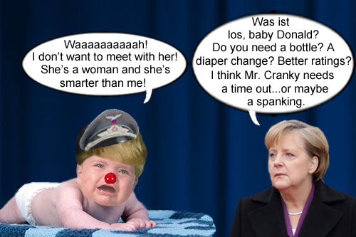 American CEO/Dictator and petulant child Donald Trump throws a temper tantrum because he has to meet with a world leader who is not only smarter than he is, but is also a woman: Germany's Angela Merkel.