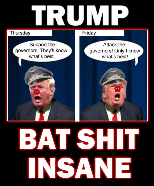 America's Impeached CEO/Dictator and petulant man child Donald Trump demonstrates the bat shit insanity that has endeared him to his equally bat shit insane followers.
