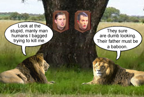 A couple of noble, African lions marvel at their latest trophies; a couple of spoiled rotten, rich, American brats trying to be manly men.