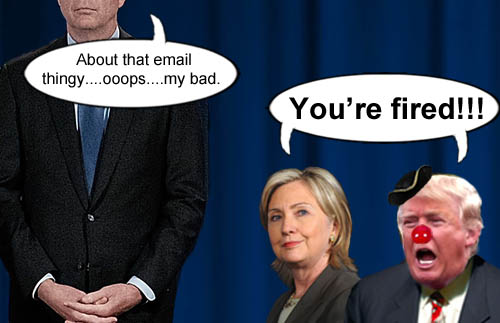 "Democrat Hillary Clinton and Republican Donald Trump tell FBI director James Comey ""You're fired!"""