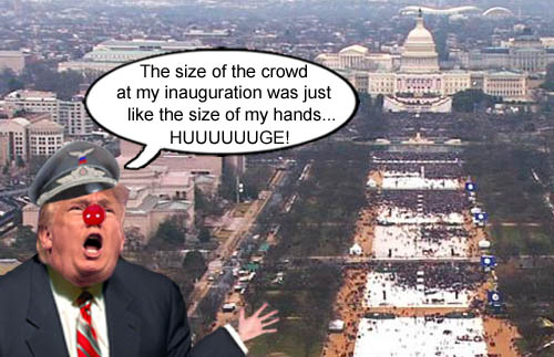 American CEO/Dictator Donald Trump proclaims that the crowd size at his inauguration was as big as his hand size.