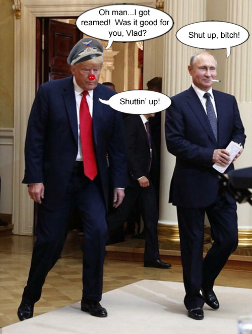 America's CEO/Dictator, Donald Trump, boldly lays down the law with Russian president, Vladimir Putin.