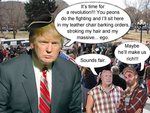 Megalomaniac Donald Trump vows to do his part in the coming conservative revolution.