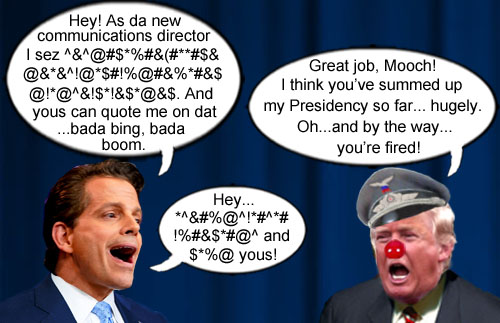 World class profanity artist, Anthony Scaramucci, a.k.a. the Mooch, lasted just ten days as communications director before America's CEO/Dictator fired him in true Trumpian fashion.