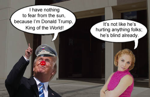 American CEO/Dictator Donald Trump declares that he doesn't fear the sun because he's King of the World, while a curious onlooker notes that he's already blind.