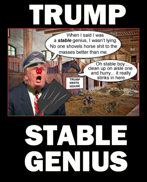 America's CEO/Dictator and stable genius, Donald Trump, proclaims to every one within earshot how masterful he is at shoveling **it to the masses.