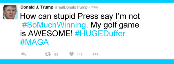 America's CEO/Dictator, Donald Trump, who is also a huge duffer, is making America great again 18 holes at a time.