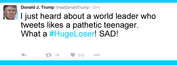 America's CEO/Dictator, Donald Trump, reacts to news about a world leader who spends all his time tweeting like a pathetic teenager instead of governing a nation. SAD!