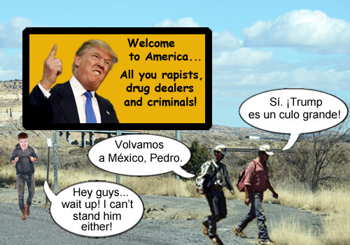 The United States has decided to implement a much more cost effective way of reducing illegal immigration and increasing emigration featuring Donald Trump welcoming people from Mexico with his words of wisdom.
