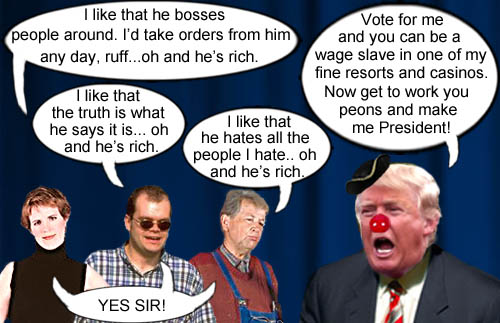 Supporters for Donald Trump like him because he bosses people around, makes up the truth and hates the same people they hate.