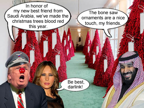 The Trumps reveal their artistic blood red christmas trees with innovative bone saw ornaments in honor of their authoritarian friends in Saudi Arabia.