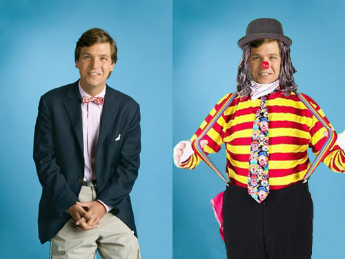 Conservative talk show host and clown prince of journalism, Tucker Carlson, ditched his nerdy looking bow tie and started wearing attire that more closely reflects his journalistic skills.