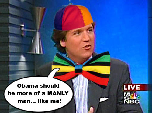 "MSNBC talk show host and manly man, Tucker Carlson, recently stated that Barack Obama ""seems like kind of a wuss."" This from the man, who until recently dressed like Steve Urkel."