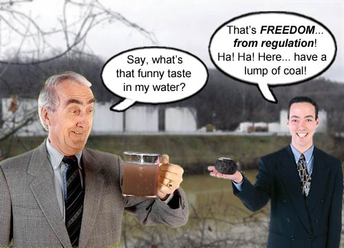 The water in Charleston, West Virginia tastes a lot like Freedom these days thanks to the coal industry.